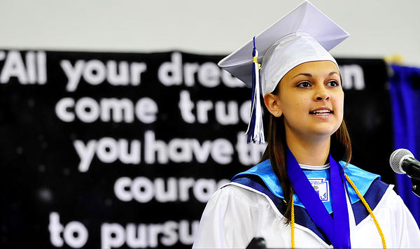 Boonsboro HIgh School Valedictorian Paige Leann Dutrow delivers a speech Friday at commencement. The graduation took place at Hagerstown Community College.