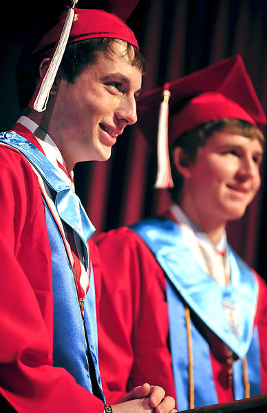 North Hagerstown High School Valedictorian Benjamin Shuster, left, and Salutatorian Edward Beachley address their fellow graduates for the class of 2012 Friday during commencement at North Hagerstown High School.