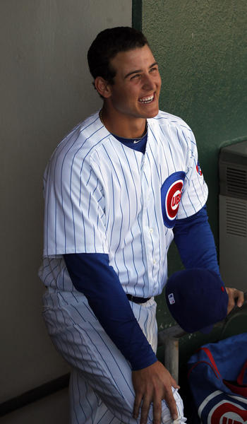Anthony Rizzo before playing against the the Rockies at HoHoKam Park in a Cactus League game.