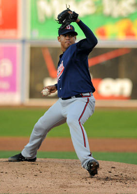 Gwinnett Braves Jair Jurrjens pitches in the baseball game against the IronPigs held at Coca-Cola Park on Friday./