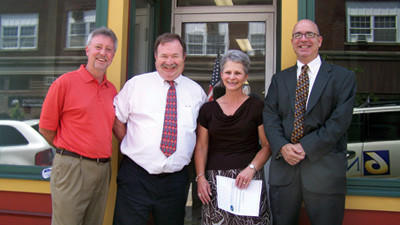 Somerset Trust Co. has donated a space at 127 N. Center Ave. for the United Way of the Laurel Highlands and the Community Foundation for the Alleghenies. From left: Bill McKinney, president of the United Way of the Laurel Highlands, G. Henry Cook, president and chief executive officer of Somerset Trust Co., Carol Stern, foundation assistant director, and Mike Kane, foundation president.
