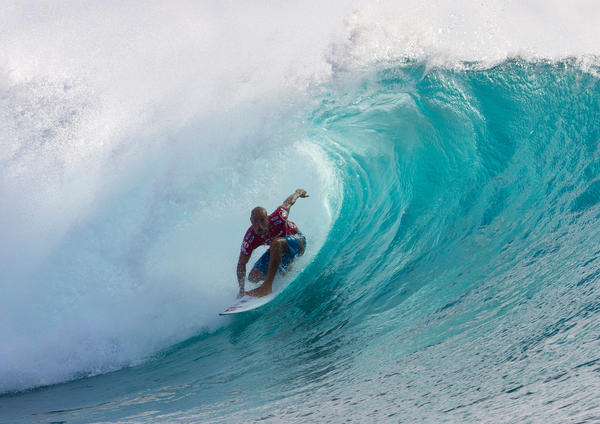 Kelly Slater of the US competes in the men's Volcom Pro Fiji surfing event in Tavarua, Fiji.