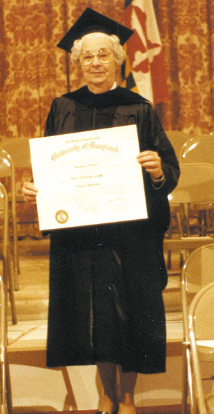 Sara Zenge earned her doctorate from the University of Maryland, College Park in May 1984 at age 70.