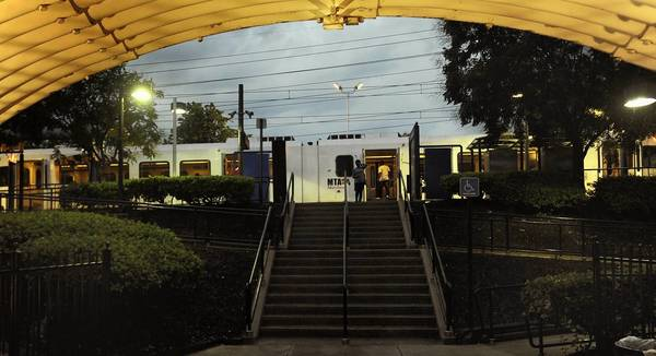 Shown is the Cherry Hill light rail stop, 1700 Cherry Hill Road.
