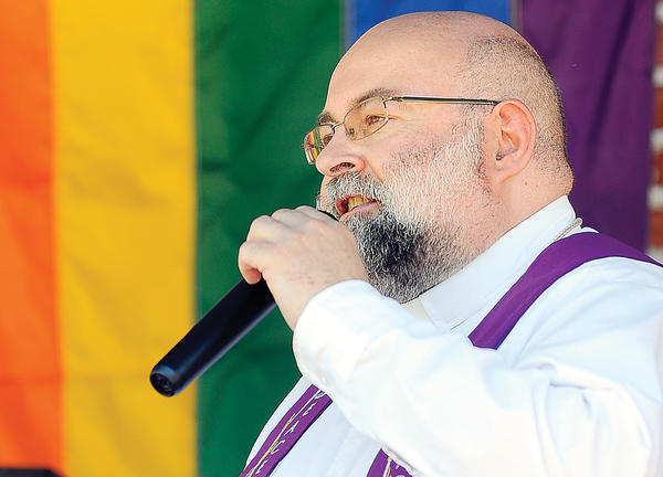 The Rev. Michael Hydes of New Light Metropolitan Church in Hagerstown was one of several speakers Saturday during the Hagerstown Hopes rally held at at University Plaza on West Washington Street. The rally was in support of the GBLTQ community.