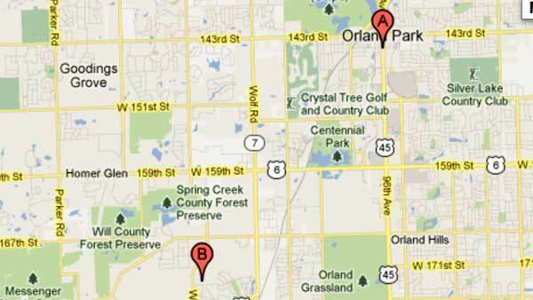 Map showing location of two fires in Orland Park