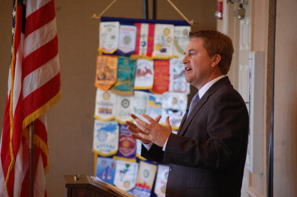 Commissioner of Agriculture James Comer addresses the Danville Rotary Club on Friday.