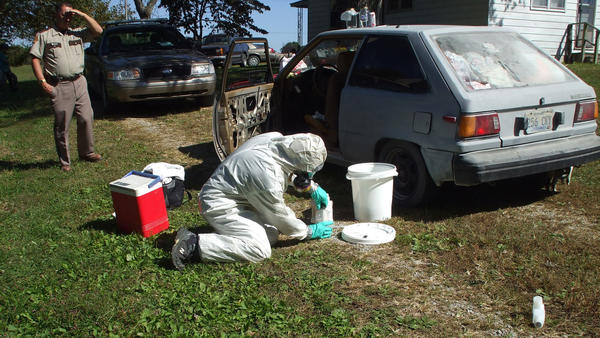 Cleaning up a meth lab, such as this on discovered recently in Casey County, costs between $2,000 and $2,400, according to Kentucky State Police.