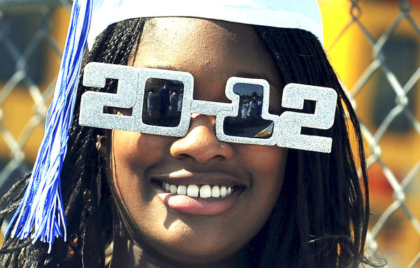 Maya Jefferson wears 2012 glasses Saturday during Greencastle-Antrim Senior High School graduation in Greencastle, Pa.