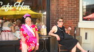 Mary Dawson of Parkville (left) and lifelong best friend Addie Holland of Timonium sit in front of Cafe Hon.