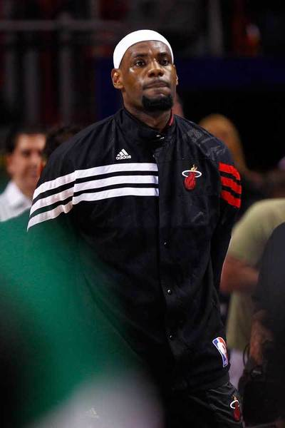 LeBron James #6 of the Miami Heat looks on during the national anthem before the Heat take on the Boston Celtics in Game Seven of the Eastern Conference Finals in the 2012 NBA Playoffs on June 9, 2012 at American Airlines Arena in Miami, Florida.