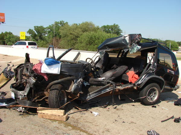 A Chicago woman survived this crash on I-65 near Hobart, Ind.