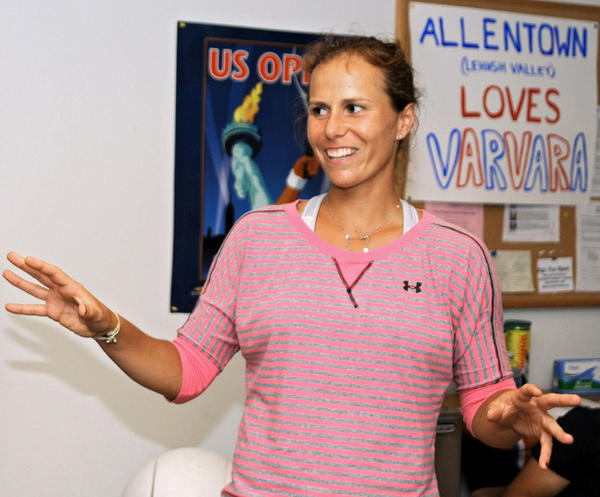 Vavara Lepchenko, of Upper Macungie Township, expresses her appreciation on Saturday during her visit to the Oakmont Tennis Club in Allentown after her run at the French Open, where she upset two ranked players to reach the fourth round of the tournament. At Oakmont, Varvara returned serves by kids, talked to club members and signed autographs during a reception.