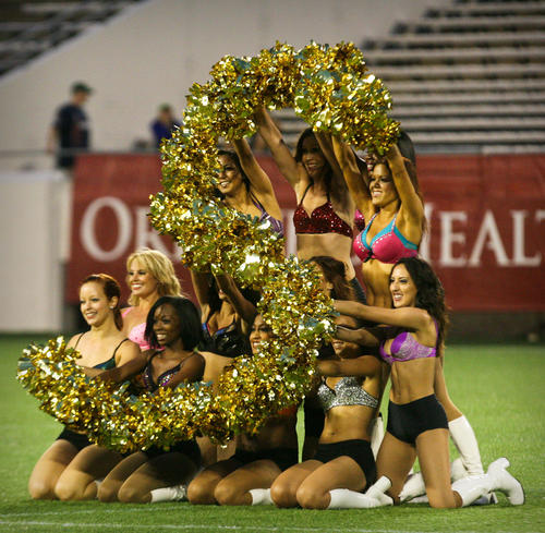 The Orlando City dancers perform during half time of a United Soccer League Pro match against Charleston Battery at the Florida Citrus Bowl in Orlando, Fla. on Saturday, June 09, 2012. (Joshua C. Cruey/Orlando Sentinel)