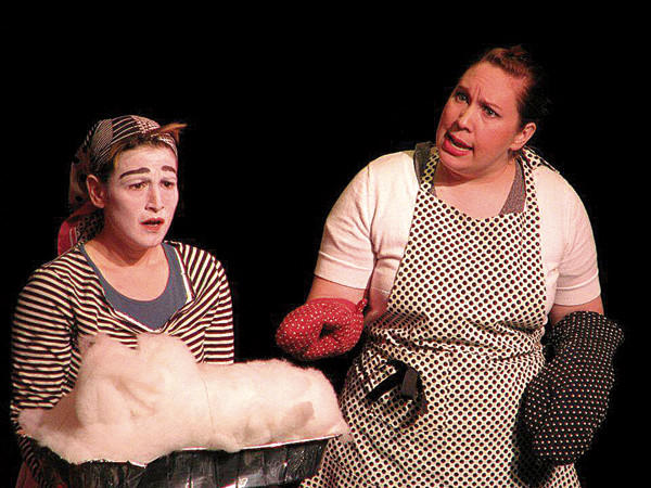 "Lesley Berkowitz, left, and Amy Kronzer star in WHITE FLAG performance group's ""Really You Should Use Bullets."""