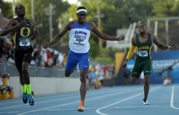 Tony McQuay of Florida (center) celebrates after winning the 400m in 44.58 in the 2012 NCAA Track & Field Championships at Drake Stadium. From left: Mike Berry (Oregon), McQuay and David Verburg (George Mason) on June 8, 2012.