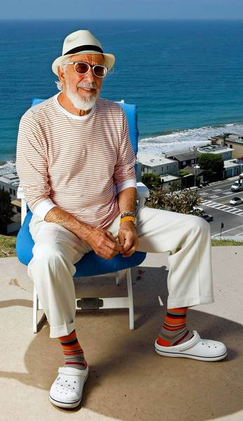 Lou Adler outside his office in Malibu.