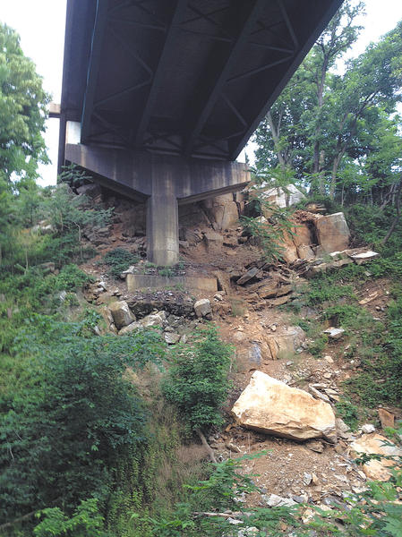 A Williamsport reader says boulders and rocks have come loose underneath the Interstate 81 southbound bridge going over the Potomac River. He noticed them while walking on the Chesapeake & Ohio Canal.