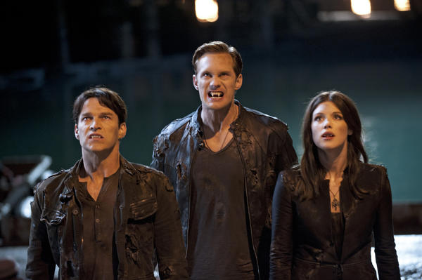 The fangs all here: Bill (Stephen Moyer), Eric (Alexander Skarsgard) and Nora (Lucy Griffiths).