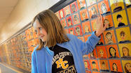 Pointers Run Elementary School fourth-grader Ellie Matthews approached the 32-foot-long mural and searched among the more than 600 glazed clay portraits for her place in posterity.