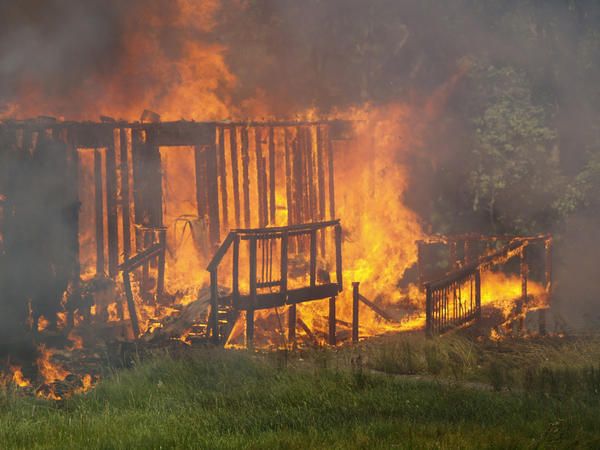 A fire Saturday afternoon destroyed this wood-frame house at 39 Suba Drive in Morgan County, W.Va. About 30 firefighters from seven departments responded to the blaze, which was reported at 12:19 p.m.