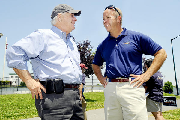 U.S. Sen. Benjamin L. Cardin, left, was in Hagerstown Sunday afternoon to support 6th Congressional District candidate John Delaney, right, at a barbecue lunch for at Hagerstown's Fairgrounds Park.