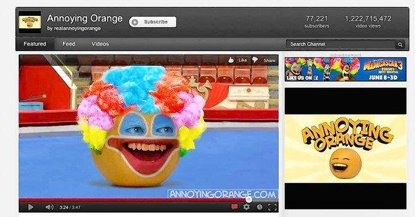"Screen shot of an episode of ""Annoying Orange"" on YouTube."