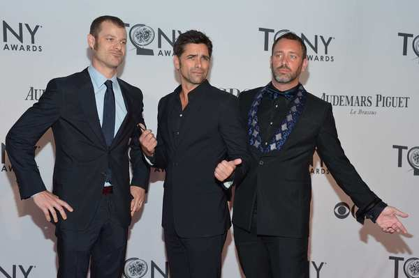Tony Awards 2012 | Red carpet: John Stamos, center, with The Book of Mormons Trey Parker and Matt Stone.