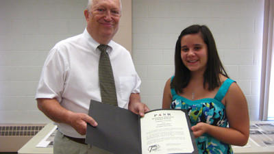 Richard Shockey from the Somerset Chapter of the Pennsylvania Association of School Retirees (PASR) awarded a scholarship to Nicole Lynn Beal, a senior at Meyersdale Area High School.