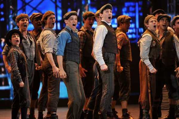 "The cast of ""Newsies"" perform onstage at the 66th Annual Tony Awards at The Beacon Theatre."