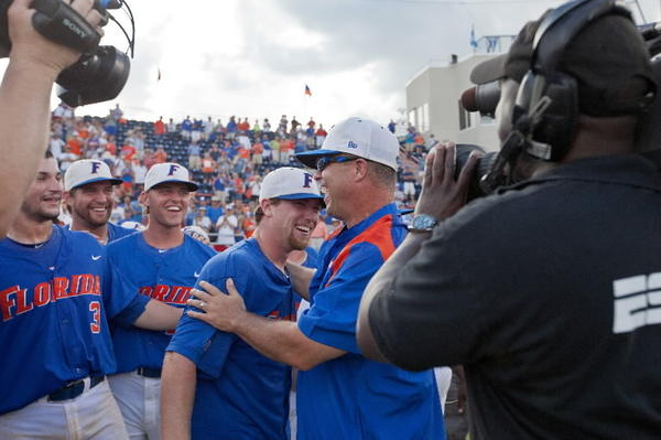 Florida Gators celebrate after winning the Gainesville Super Regional and advancing to the College World Series.