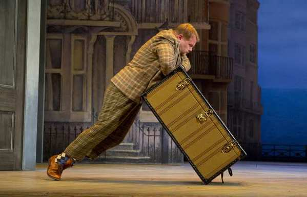 "James Corden in ""One Man, Two Guvnors"" at the Music Box Theatre in New York."