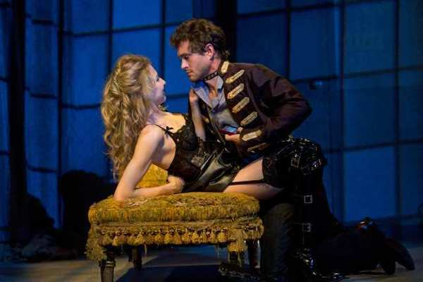 "Nina Arianda and Hugh Dancy in the Broadway production of ""Venus in Fur."""