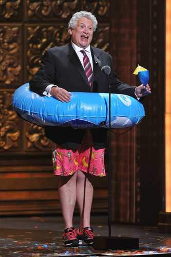 """Live from the Caribbean"" ... Need we say more? Actor-playwright Harvey Fierstein appeared onstage clad in a puffy flotation device to announce Royal Caribbean International's Oasis of the Seas cast of ""Hairspray,"" which performed a number live from a cruise ship at sea. ""Please welcome them,"" Fierstein said in a thick Brooklyn accent, ""for the first time ever at the Tonys -- or anywhere else for that matter!"" Later, host Neil Patrick Harris commented: ""I've just gotten terrible news that the cast of 'Hairspray' has been taken over by pirates."""