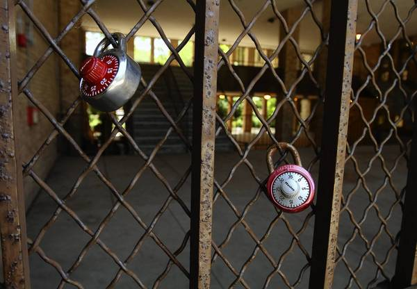 Bars and fencing are prominent at Chute Middle School in Evanston. For years students have bristled at the image of their school looking like a jail.