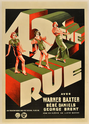 "This Art Deco Belgium poster of the seminal 1933 Warner Bros. musical ""42nd Street,"" which featured Busby Berkeley's surreal dance numbers, shines the spotlight on the dancers."