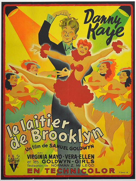 "French artist Bernard Lancy captured the vibrancy and zaniness of the 1946 Danny Kaye Technicolor musical comedy ""The Kid From Brooklyn,"" which was the actor's second film with Virginia Mayo. Producer Samuel Goldwyn gets the ""film by"" credit, not director Norman Z. McLeod."