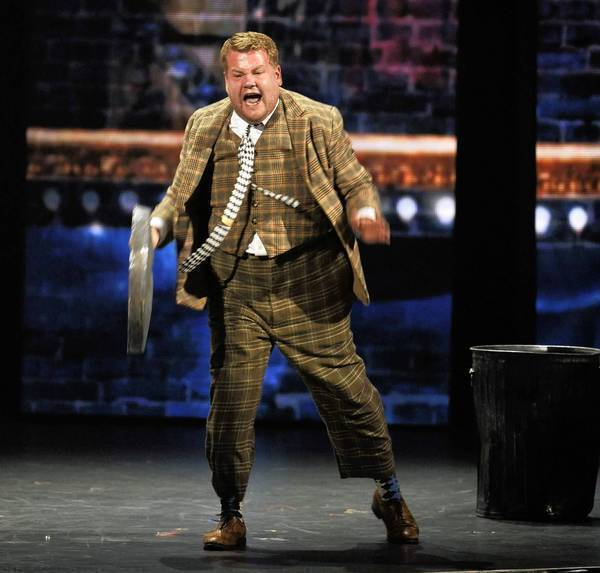 "James Corden performs a scene from ""One Man, Two Guvnors"" at the Tony Awards show on Sunday."