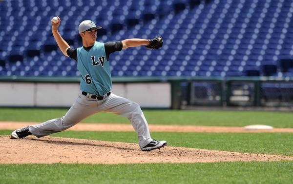 Shane Simpkins of Notre Dame-Green Pond pitches at Citizens Bank Park during last year's Caprenter Cup.