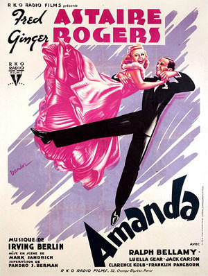 "The French poster of the musical ""Carefree,"" which was called ""Amanda"" in France, is one of Kaplan's favorites."