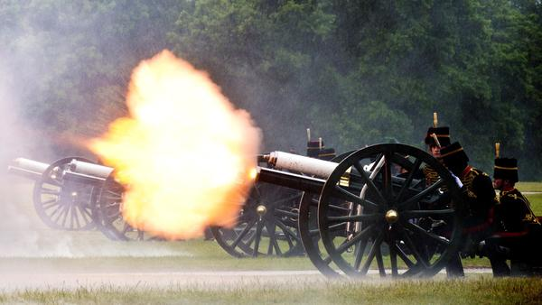 A 41 Gun Royal Salute is fired by The King¿Äôs Troop Royal Horse Artillery in honour of Britain's Prince Philip, Duke of Edinburgh's 91st birthday in London's Hyde Park.