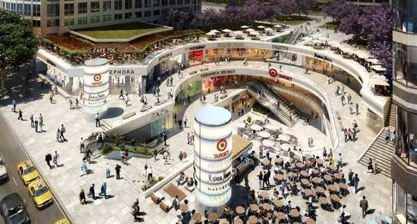 An architect's rendering of a completed FIGat7th shopping center in downtown L.A. The mall is set to reopen in the fall.