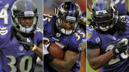 Ray Rice's absence from organized team activities has given the Ravens a chance to focus on a group of unproven players hoping to back up a player many consider the best all-around running back in the NFL.