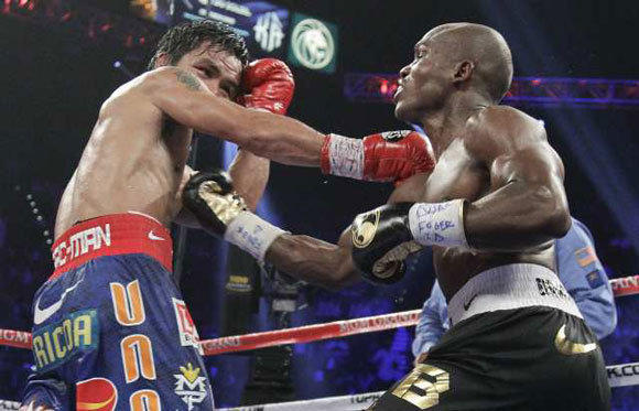 Manny Pacquiao and Tim Bradley during their fight on Saturday.