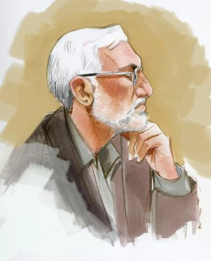 Tahawwur Rana in a courtroom sketch during his trial on charges in connection with the 2008 terror attack in Mumbai.