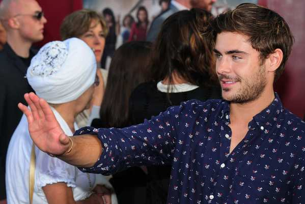 "Zac Efron arrives at the premiere of ""Rock of Ages' in Hollywood."