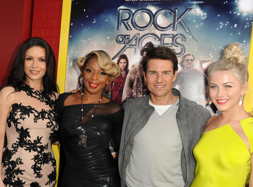 "<i> Catherine Zeta-Jones, left,  Mary J. Blige, Tom Cruise and Julianne Hough arrive at the premiere of Warner Bros. Pictures' ""Rock of Ages"" at Grauman's Chinese Theatre in Hollywood.</i> <br><br> The 'Rock of Ages' premiere brought out some of the biggest names in Hollywood and music. Click through the gallery to see photos from the event."