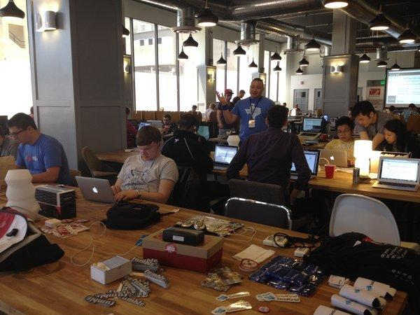 Developers work on their projects during Hollywood Hack Day on Sunday.