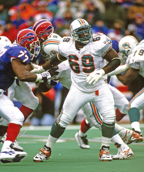 Three-time Pro Bowler at left guard combined with tackle Richmond Webb to protect Dan Marino's blind side in the final decade of the Hall of Famer quarterback's career.