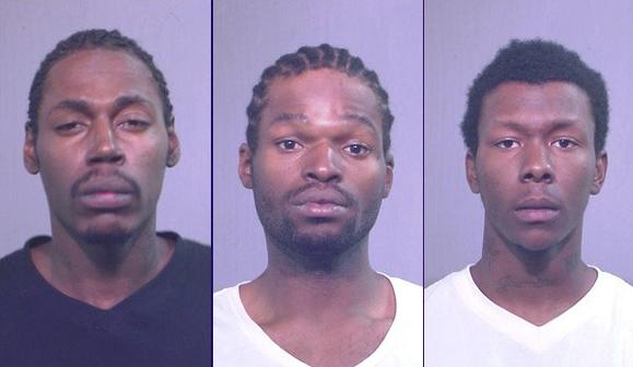 Antwan Palmer, 25, Carnell Treadwell, 21, and Ryan Glass, 20, all face armed robbery charges in connection with the robberies that police said date back at least to May 16. Police booking photos
